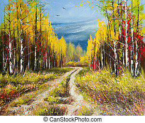 automne, peinture, huile, -, or