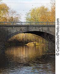 automne, pont, sur, rivière