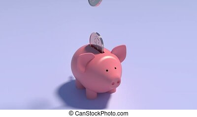 automne, porcin, tirelire, animation, dollars, bank., pièces