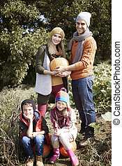 automne, portrait, jour, famille