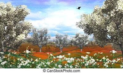 automne, printemps, paysage, animation