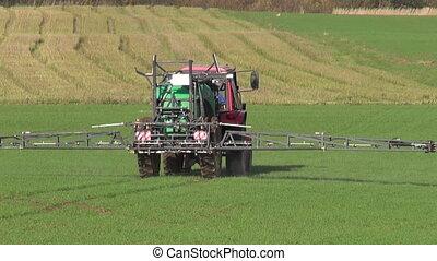 automne, pulvérisation, vert, tracteur, récolte