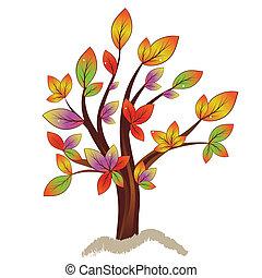 automne, résumé, arbre, coloré