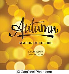automne, résumé, defocused, fond, or