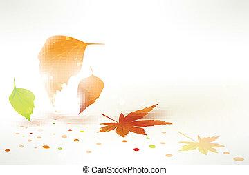 automne, résumé, vecteur, feuilles, fond