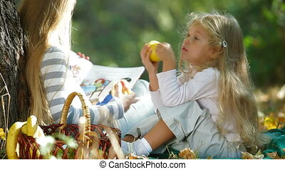 automne, reposer, parc, enfants