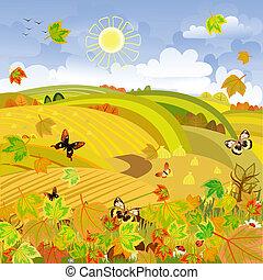 automne, rural, expanses, paysage