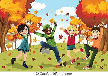 automne, saison, gosses, automne