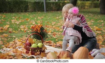 automne, soeurs, parc, deux