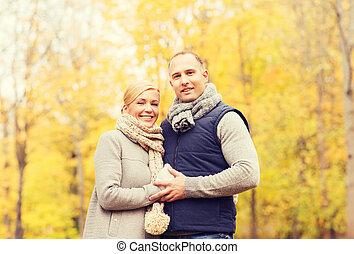 automne, sourire, parc, couple