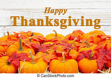automne, thanksgiving, feuilles, potirons, salutation, orange, heureux