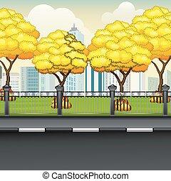 automne, ville, fond