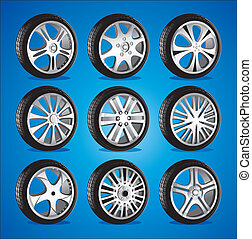 automobile, alliage, bas, profil, roues, roue, pneus