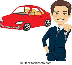 automobile, vendeur, jeune