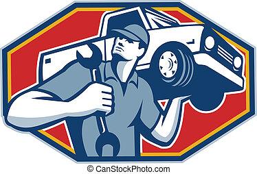 automobile, voiture, retro, mécanicien, réparation