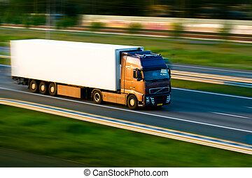 autoroute, camion, fret