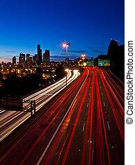 autoroute, lumière, seattle, crépuscule