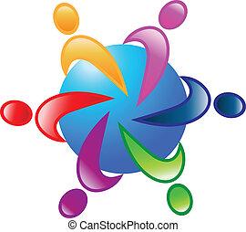 autour de, 6, vecteur, collaboration, mondiale, logo