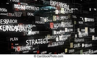 autour de, business, tourner, mots, numérique, la terre