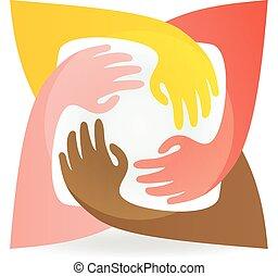 autour de, coloré, vecteur, collaboration, mains, logo