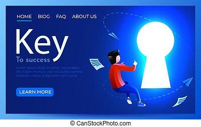 autour de, concept., solution, mouche, reussite, clã©, ou, occasion, brillant, site web, keyhole., atterrissage, page, gens, template.