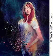 autour de, elle, exploser, poudre, girl, coloré