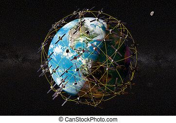 autour de, espace, globe, espace, rendre, satellites, la terre, 3d
