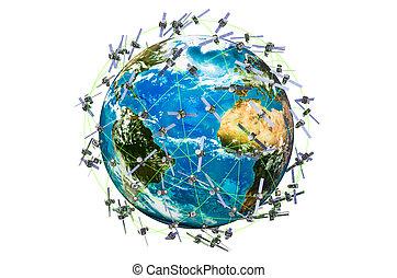 autour de, espace, globe, isolé, rendre, fond, satellites, la terre, blanc, 3d