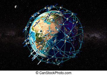 autour de, espace, globe, rendre, satellites, la terre, 3d
