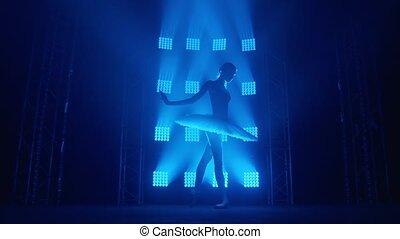autour de, gracieux, girl, blanc, lent, danseur, silhouette, light., ballerine, mouvement, ballet, pointe, séance entraînement, classroom., tournoiements, bleu, vous, rayons, fumée, tutu