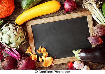 autour de, ingrédients, ardoise, cuisine, automne, frais