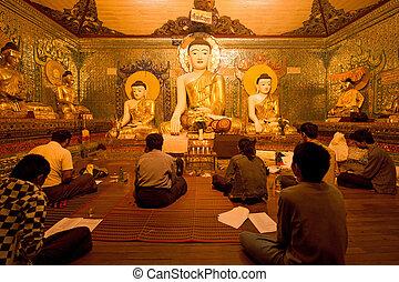 autour de, myanmar, prier, yagon, pagode, bouddhisme, shwedagon