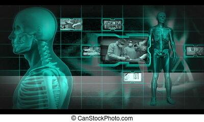 autour de, rotation, vidéos, squelette