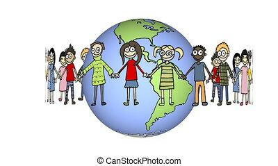 autour de, tourner, enfants, globe