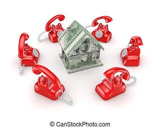 autour de, vendange, house., téléphones, petit, rouges, 3d