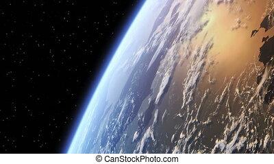 autour de, vol, la terre