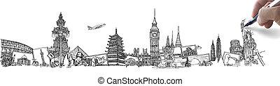 autour de, voyage, whiteboard, main, mondiale, rêve, dessin