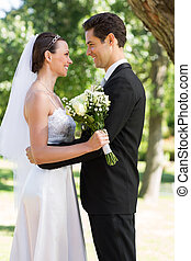 autre, couple, jardin, regarder, chaque, marier, récemment
