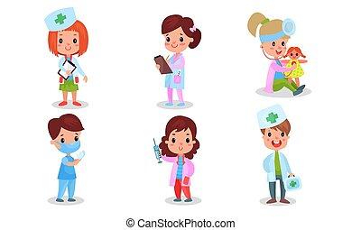 autre, pédiatre, chirurgien, thérapeute, vecteur, gosses, décrit, illustration médicale, vert, croix, costumes, infirmière, professions, ensemble
