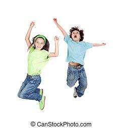 autrefois, sauter, enfants, deux, heureux