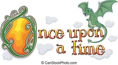 autrefois, temps, sur, dragon
