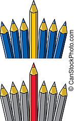 autres, vecteur, debout, unique, crayon, dehors