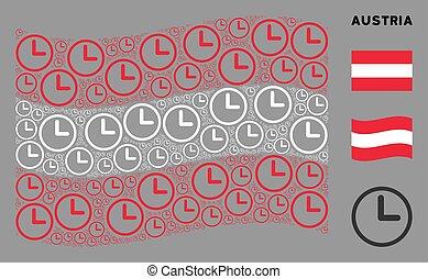 autriche, mosaïque, drapeau ondulant, horloge, articles