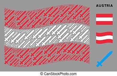 autriche, mosaïque, onduler, épée, drapeau, articles