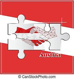 autriche, poignée main, fait, logo, drapeau