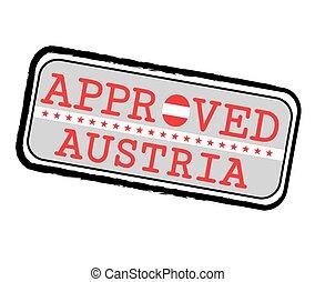 autrichien, forme, texte, drapeau, approuvé, austria., timbre logo, vecteur, o