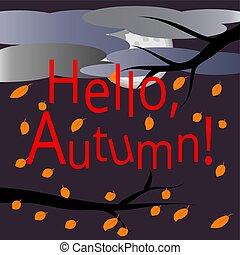 autumn., bonjour, entouré, branches, carte postale, texte, voler, ciel, leaves., arbre, clouds., automne, arrière-plan., landscape:, multi-coloré, couvert, feuilles, érable