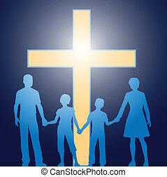 avant, chrétien, famille, debout, lumineux, croix