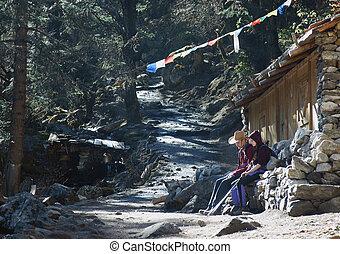 avant, haut, touristes, relâcher, népal, obtenir, colline