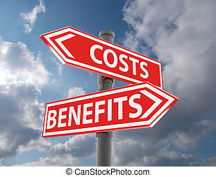 avantages, -, deux, coûts, vs., signes, route